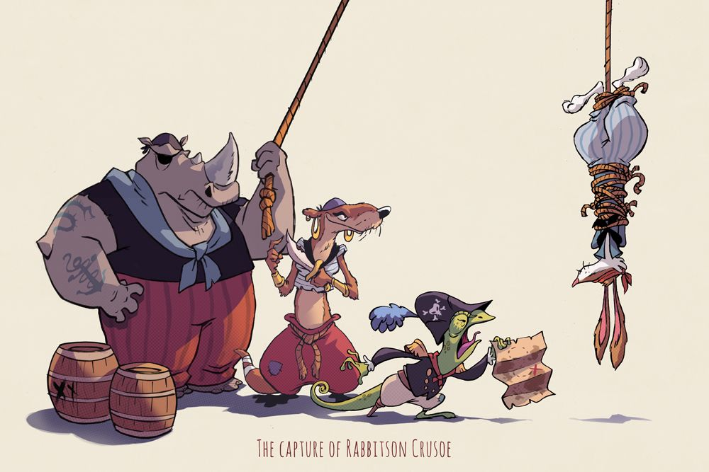 Animal character design - Some more ink fun from this weekend, Rabbitson Crusoe waylaid by pirates.