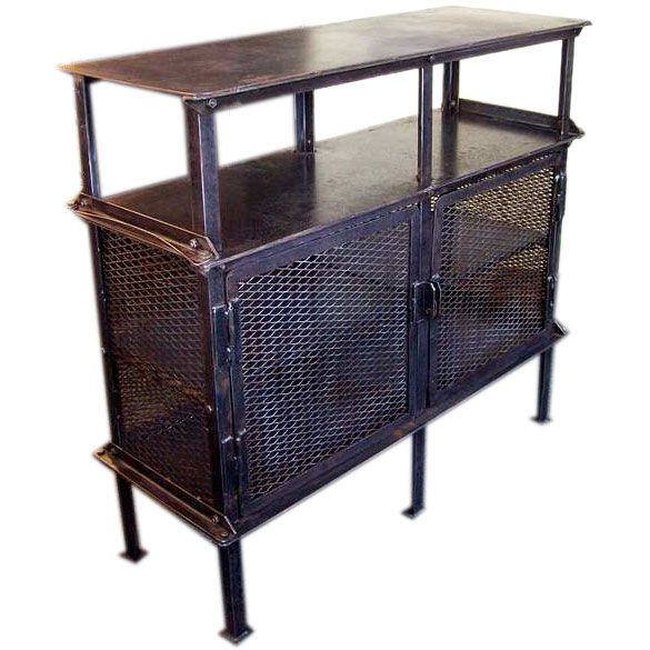 french industrial furniture. Vintage French Industrial Steel Two Door Buffet Furniture L