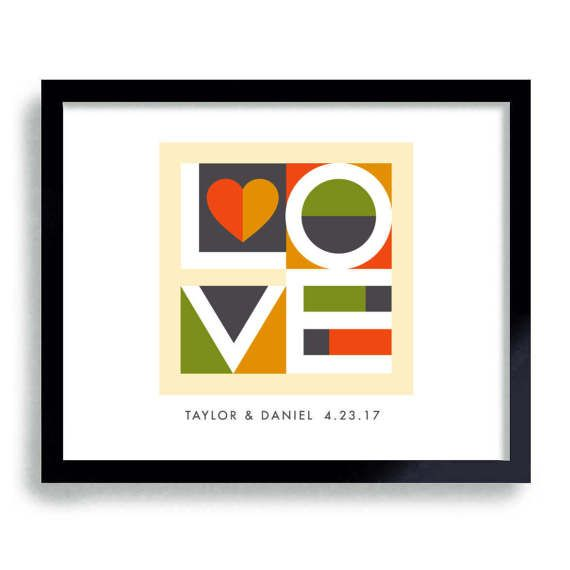 Contemporary Wedding Gifts: Love Sign Mid Century Modern Wedding Gift Abstract Art