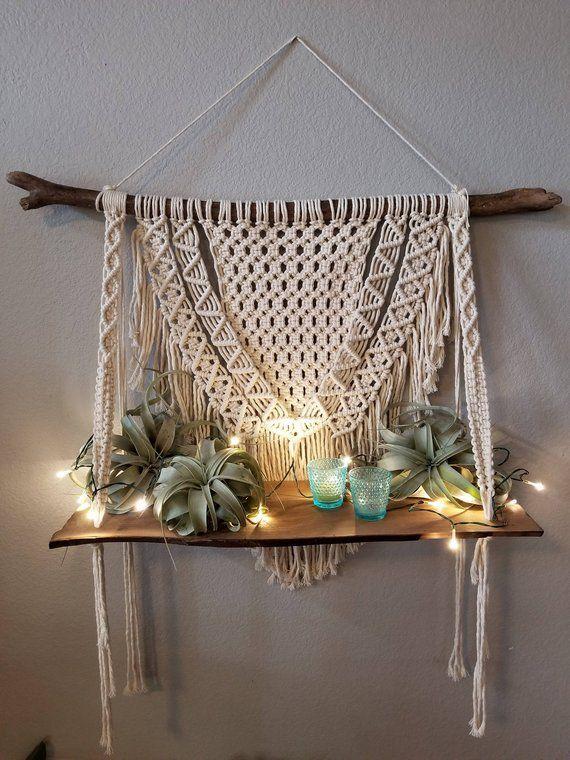 Macrame shelf, macrame wall hanging, shelf | Boho decor ...