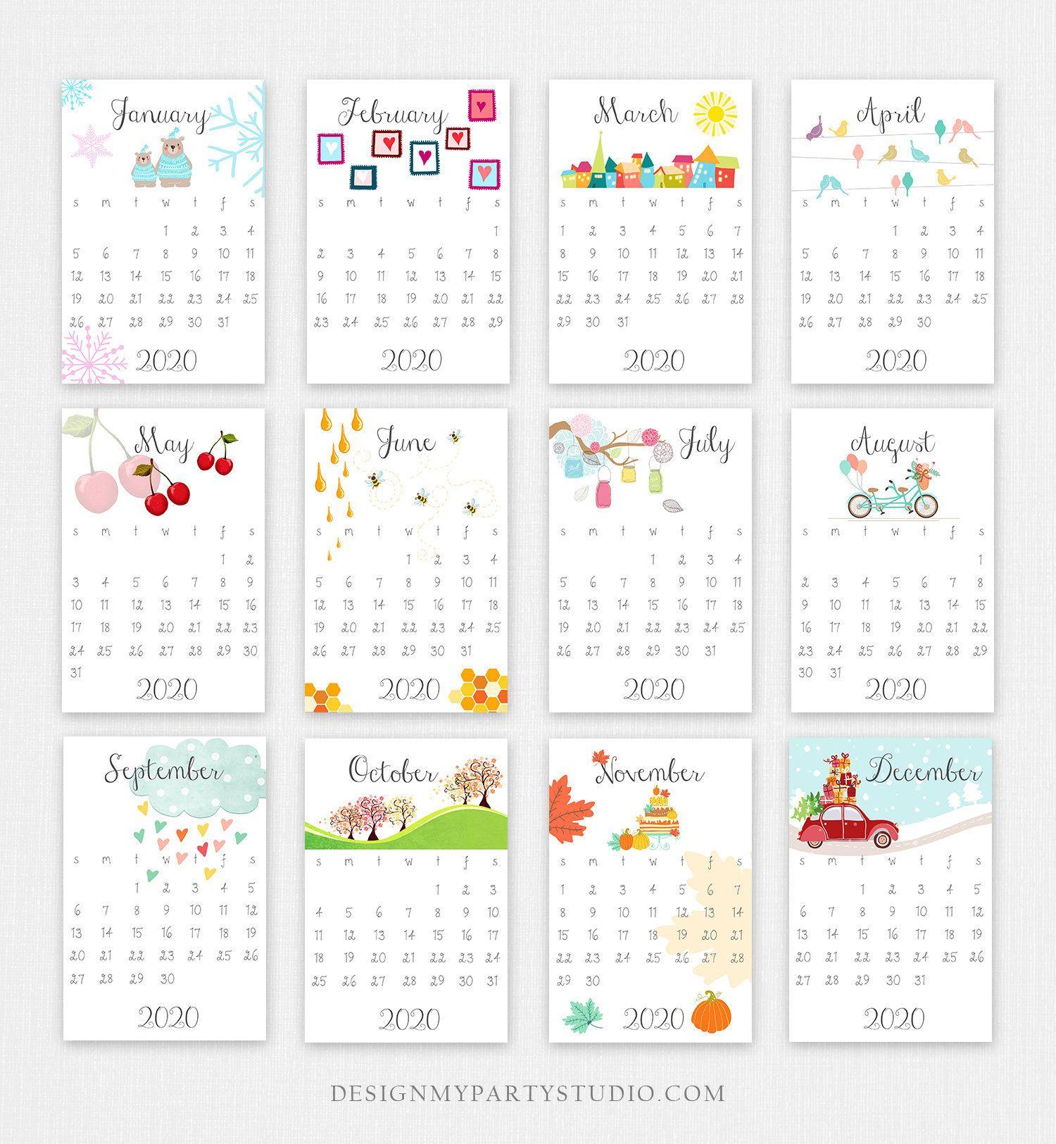Printable 2020 Calendar Wall Calendar Desk Calendar Classroom