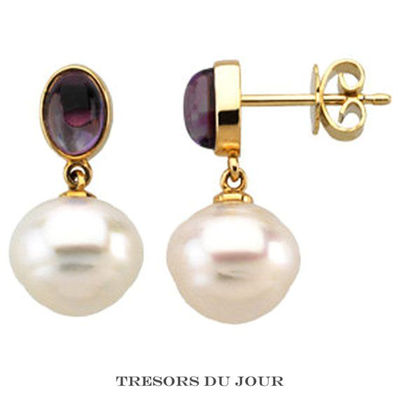 Fine Jewelry Genuine Pink Pearl 14K Gold Drop Earrings