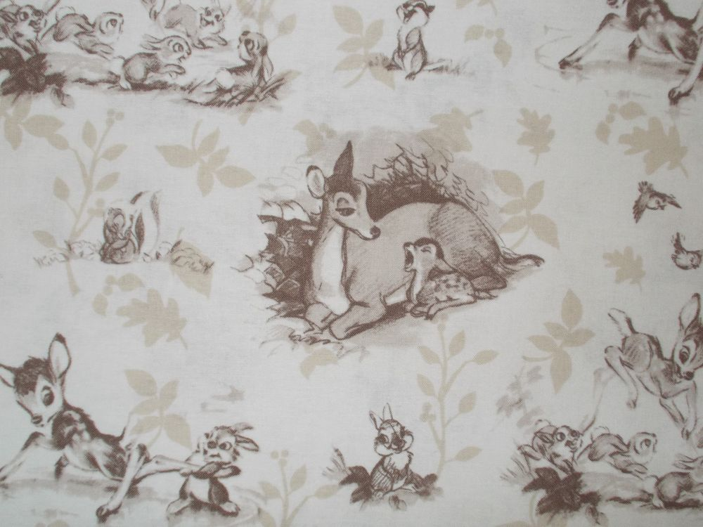 Bambi Quilting Fabric Sepia Tone Scenic Toile Disney Fat Quarter ... : toile quilting fabric - Adamdwight.com