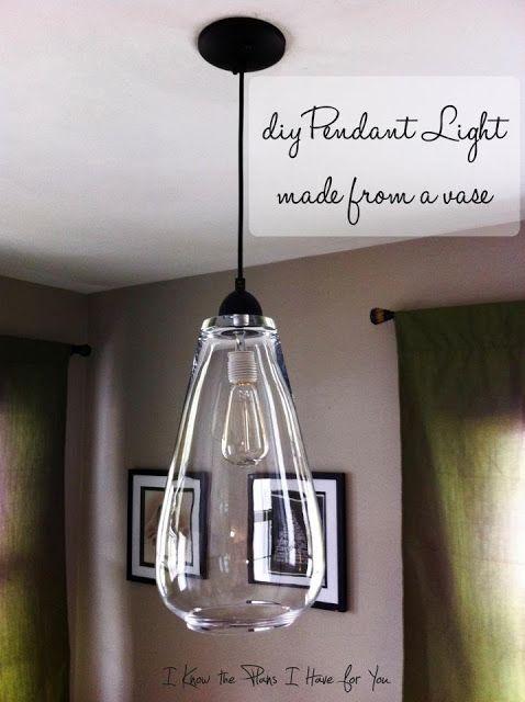 Diy Pendant Light From A Vase Diy Pendant Light Diy Light