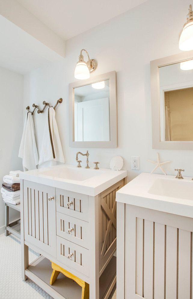 Martha Stewart Vanity Bridge Faucet Hexagonal Floor Mosaic Floor Tile  Starfish Towel Hooks Two Sinks Two
