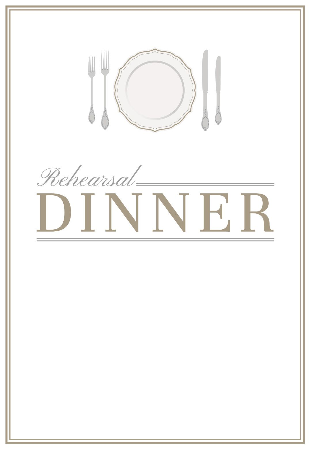 Elegant Setting Free Printable Rehearsal Dinner Party Invitation – Free Dinner Invitation