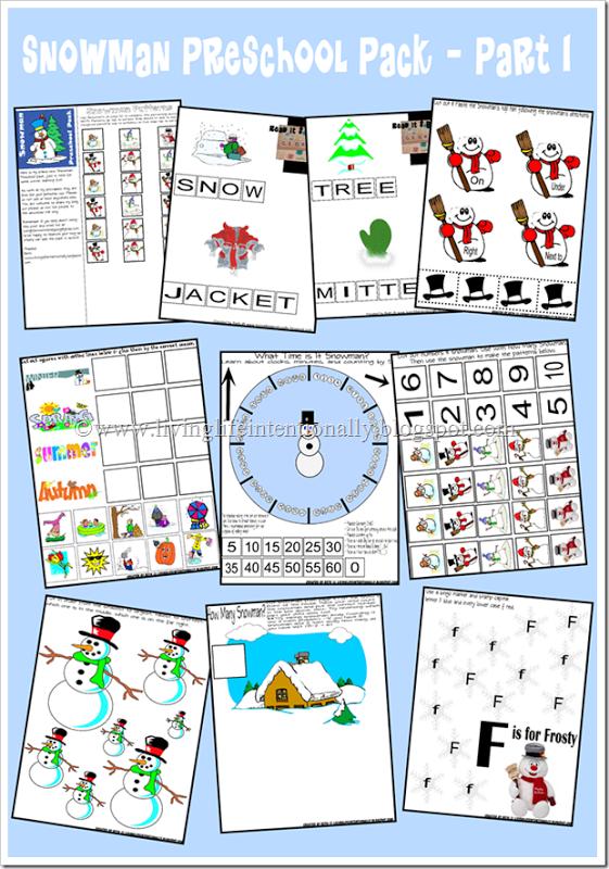 Free Snowman Preschool Printable Pack