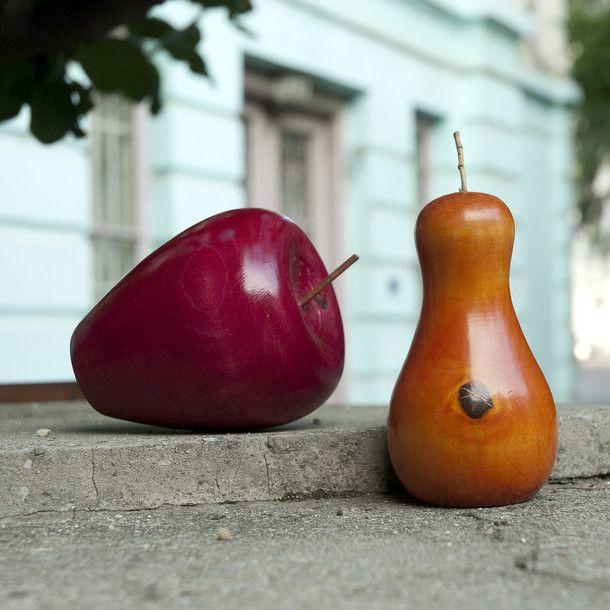 Holzfiguren Apfel & Birne Rot | kerria | eu.Fab.com