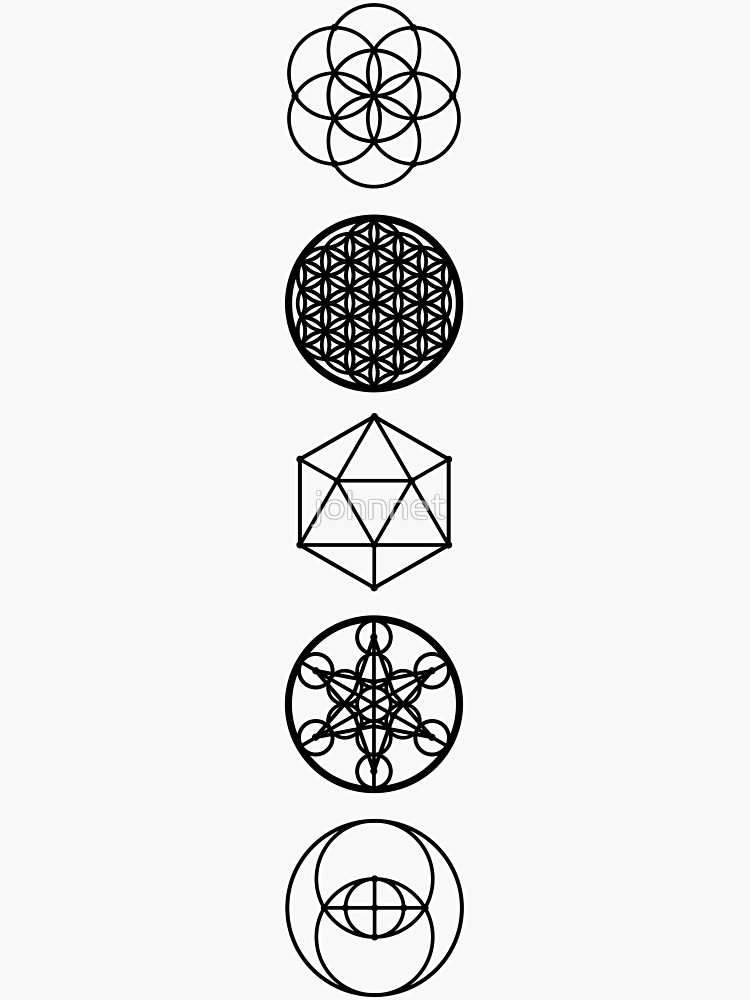5 Sacred Geometry Symbols Sticker By Johnnet In 2020 Sacred Geometry Symbols Sacred Geometric Symbols Flower Of Life Tattoo