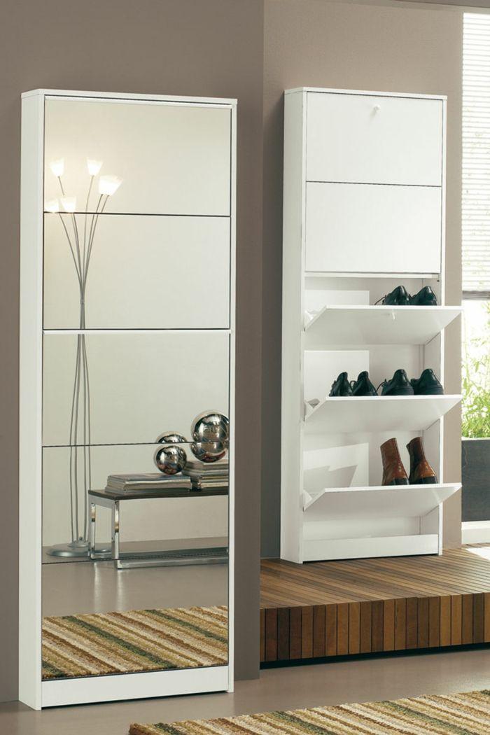 Shoe Cabinet With Mirror For More Shine In The Apartment Decoration Gram Schuhschrank Schrank Schuhablage Spiegel Garderobe
