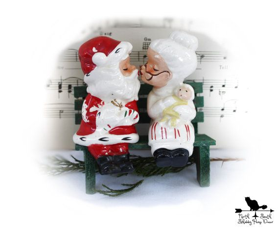 Vintage Kissing Mr And Mrs Santa Claus Sitting On Bench Salt Etsy Christmas Collectibles Retro Kitchen Decor Christmas Dinner Table