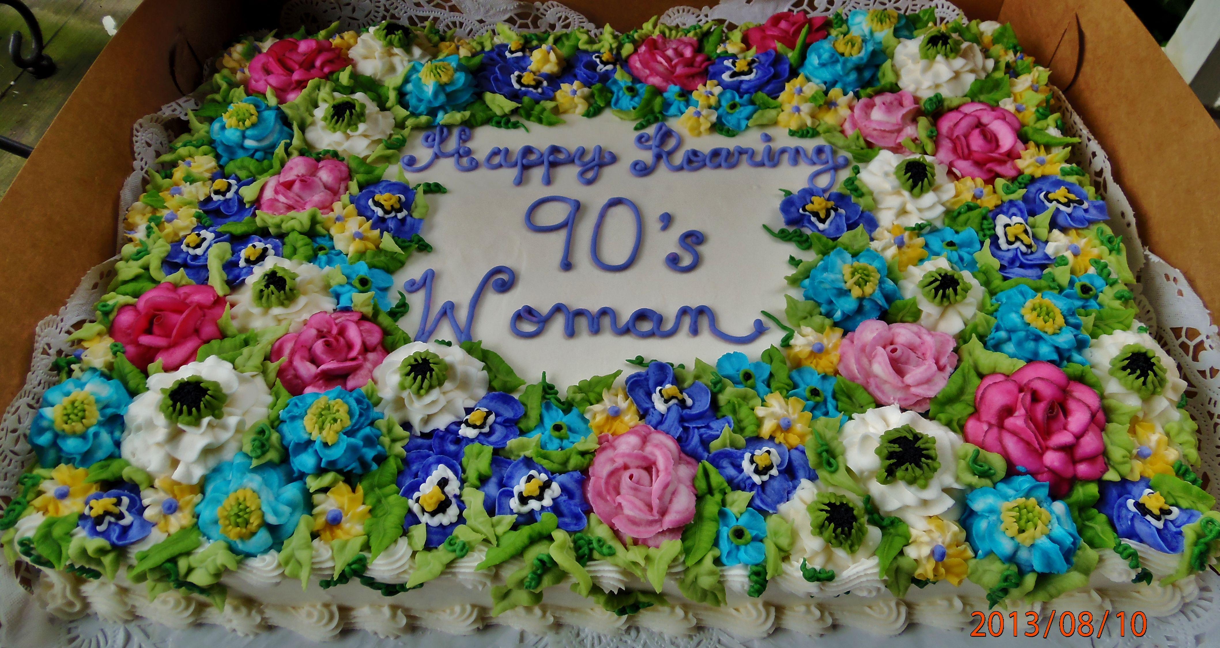 Buttercream Flowers Sheet Cake Design In Spring Summer Colors