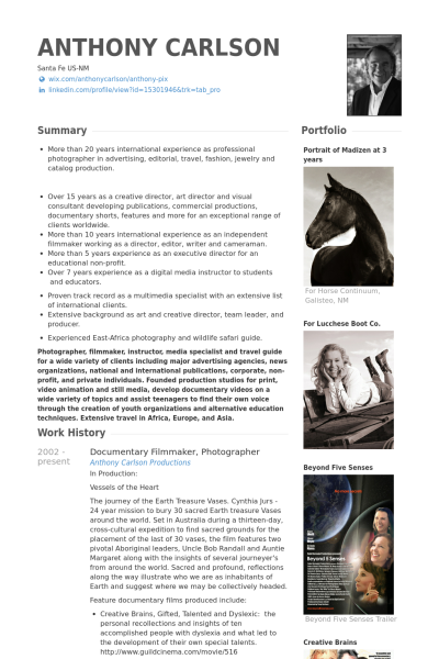 Film Resume Samples Visualcv Resume Samples Database Creative Cvs Photographer Resume Sample Resume