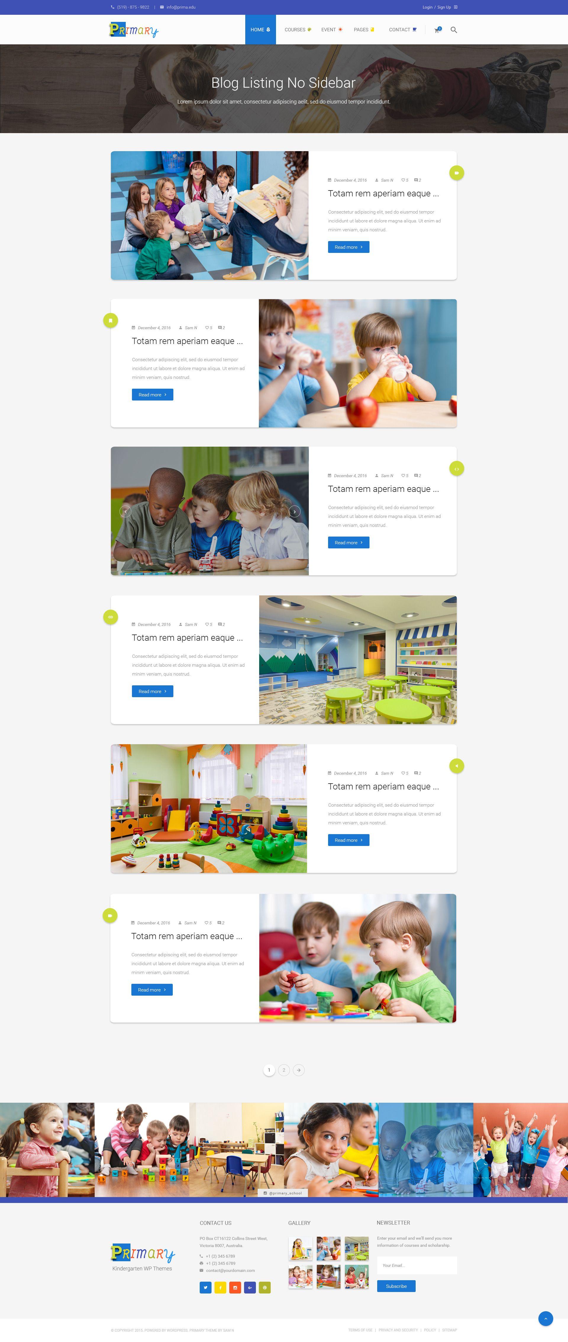 Primary Kids Kindergarten School Psd Template Kindergarten