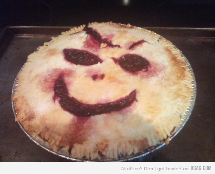 smiley face on pie... creepiest thing ever! HAAHa