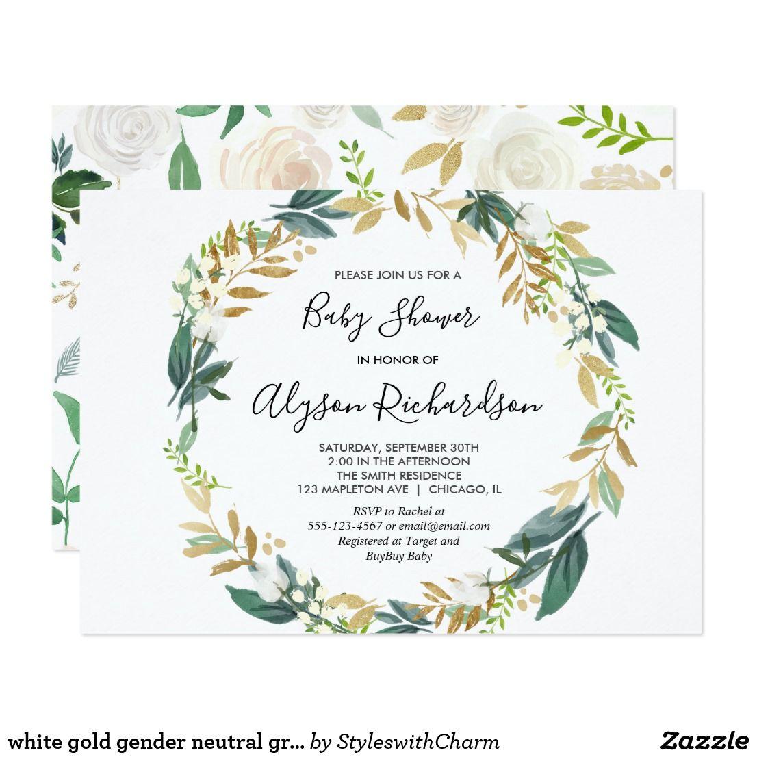 white gold gender neutral greenery baby shower invitation