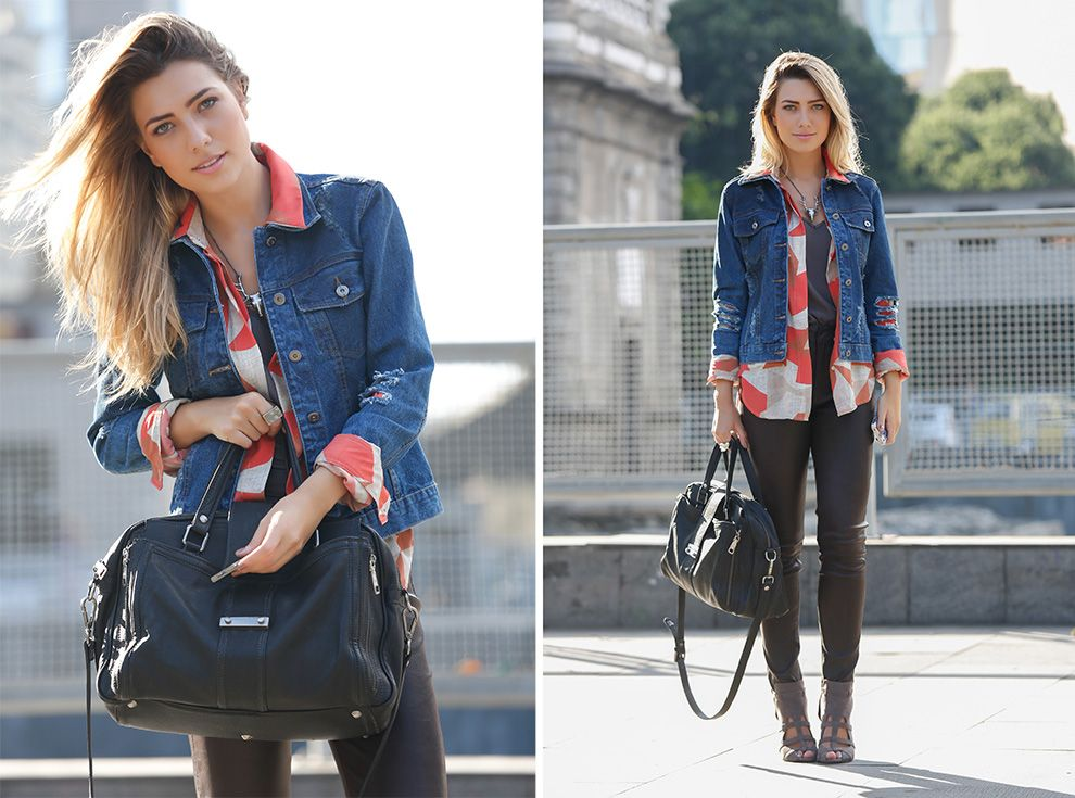 Street Style: sobreposição com couro e jeans