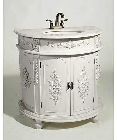 Ornate Antique White Demi Lune Sink Unit Vintage Bathroom Vanities Shabby Chic Bathroom Unique Bathroom Vanity