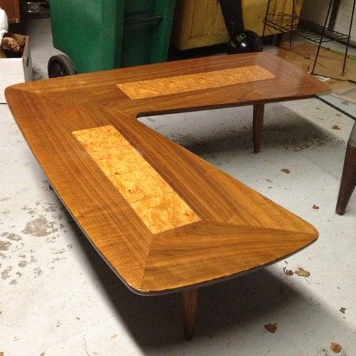 1950s Mid Century End Table By Lane Furniture: Vintage Mid Century Lane Walnut Boomerang Table 1950'S