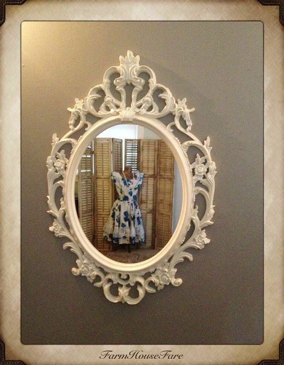 Ornate Mirror, Baroque Mirror, Large Wall Mirror, Antique White Picture  Frame, Shabby Chic Oval Mirror Bathroom Mirror, Nursery Mirror On Etsy,  $158.00