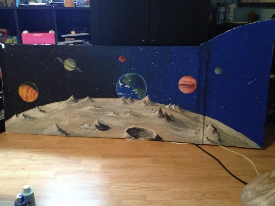 Vbs operation space room d cor acrylic on cardboard for Decor outer space
