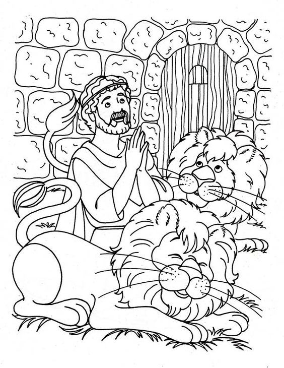 Daniel And The Lions Den Coloring Page Daniel And The Lions Bible Coloring Sunday School Coloring Pages