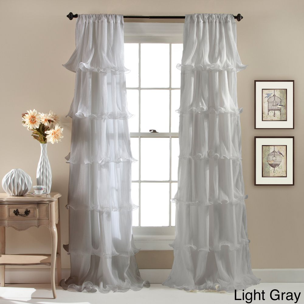 Curtain pair overstock shopping great deals on lights out curtains - Lush Decor Nerina Ruffled Curtain Panel By Lush Decor
