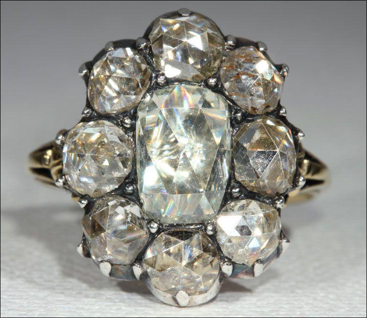 Huge Antique Georgian Rose Cut Diamond Cluster Ring