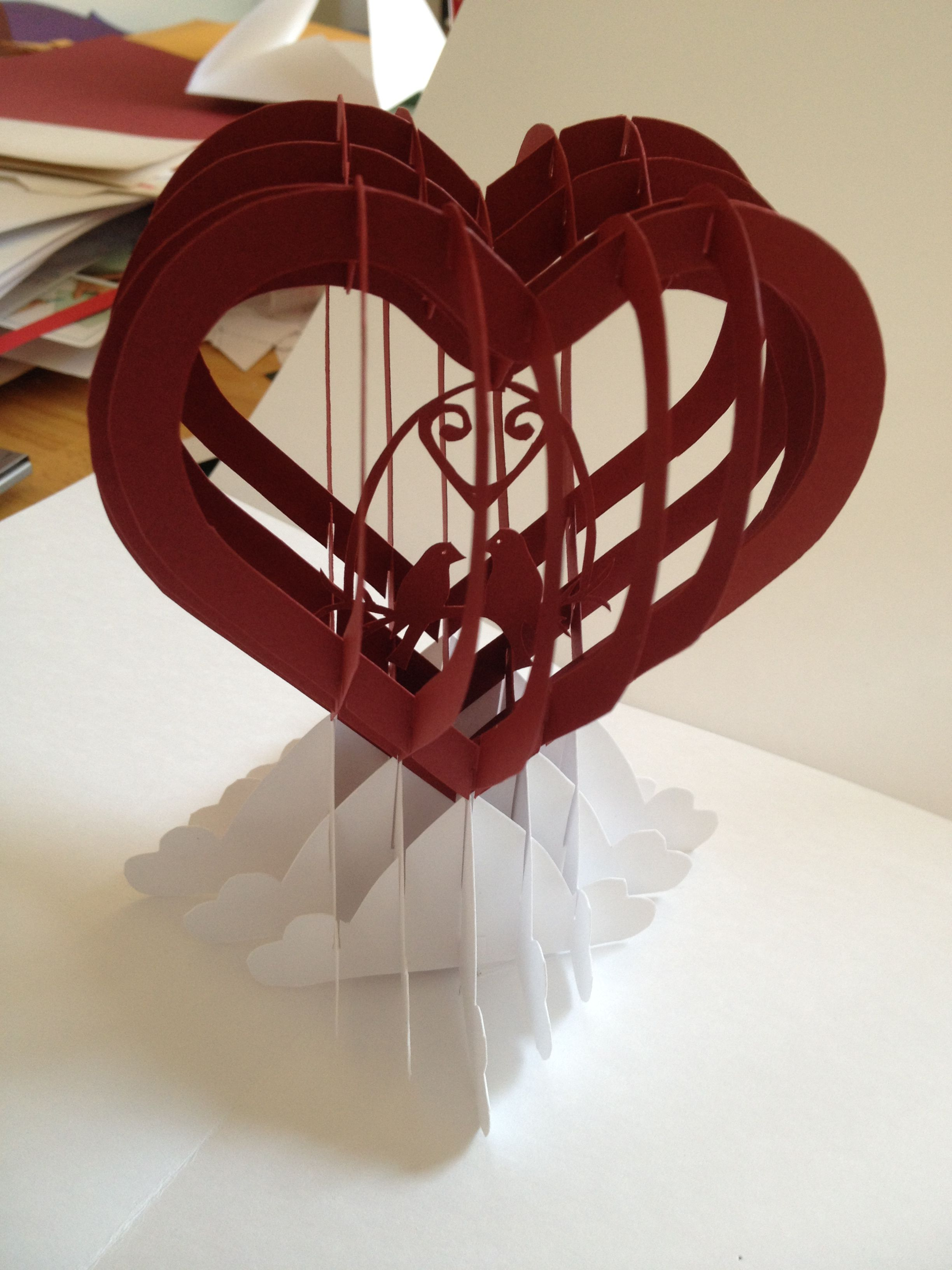 Heart with Love Birds slice form popup card Template from blog