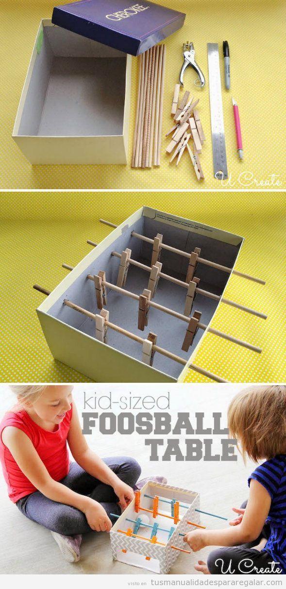 Tutorial Manualidades Para Ninos Futbolin Caja De Carton Y Pinzas