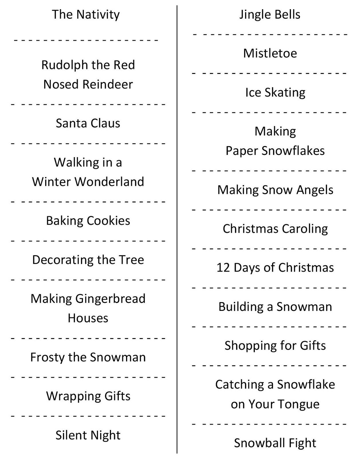 Christmas Charades (free printable party game)   Pinterest ...