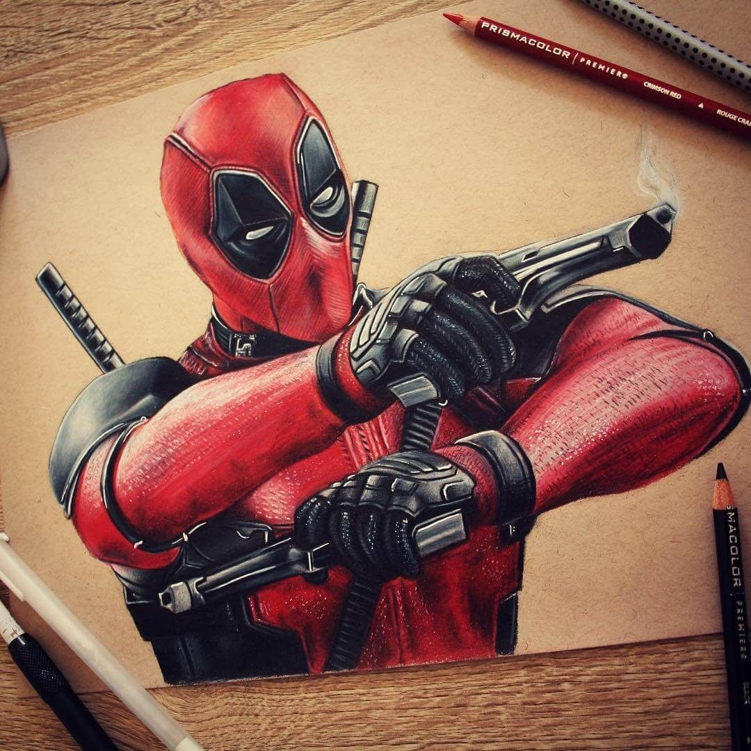 Superhero And Villain Realistic Pencil Drawings Deadpool Art Deadpool Drawing Deadpool Wallpaper Funny
