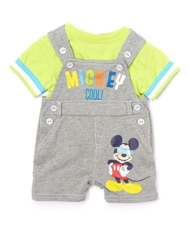 Another great find on #zulily! Green Mickey Mouse Tee & Gray Shortalls - Infant #zulilyfinds