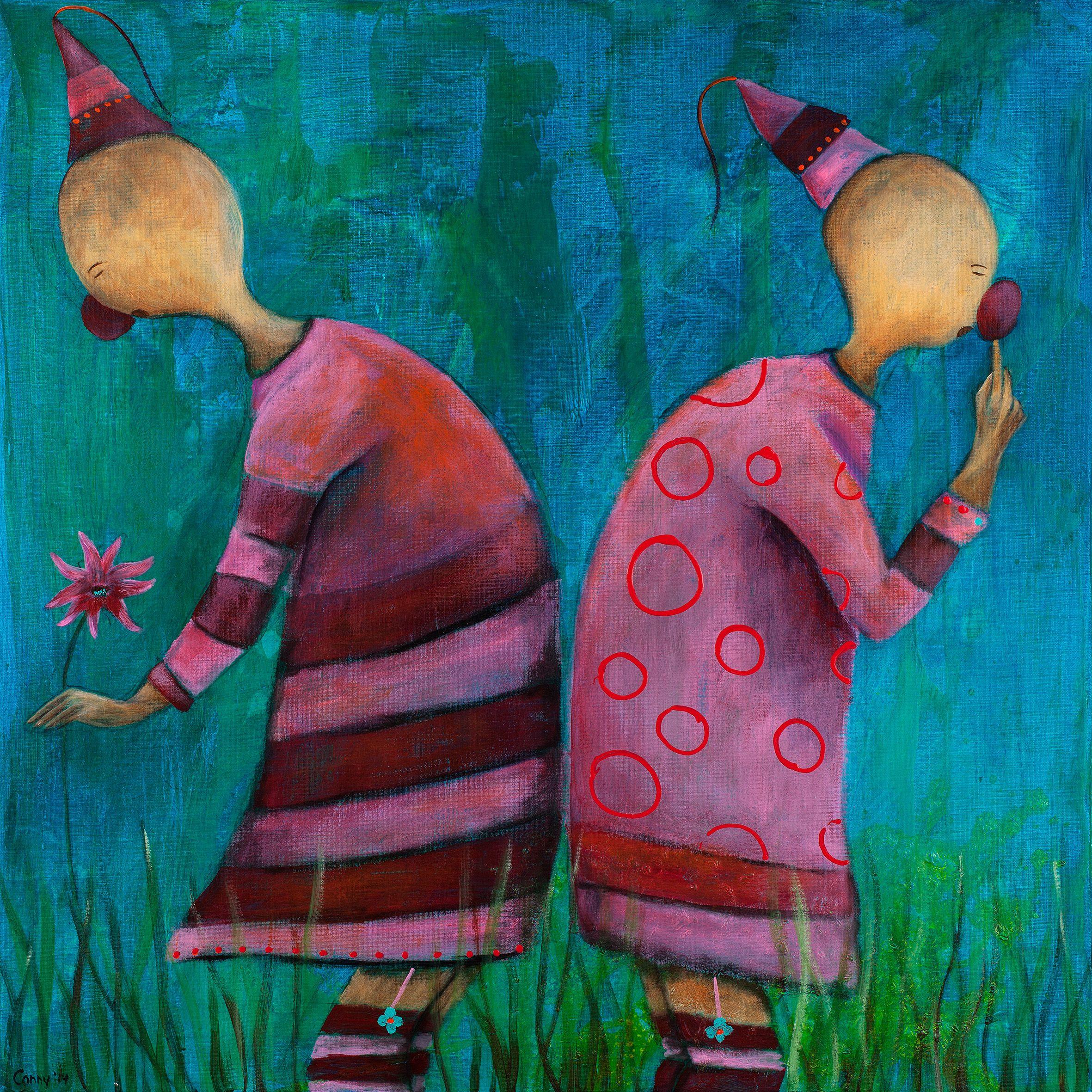 schilderijen frotje frutje kleurrijk grappig vrolijk kinderschilderij tweeluik kunst. Black Bedroom Furniture Sets. Home Design Ideas