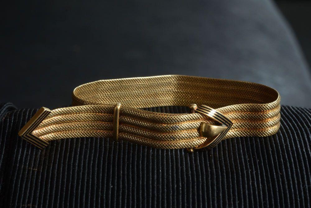 1880s Victorian Enamel & 14K Gold Mesh Slide Bracelet ...