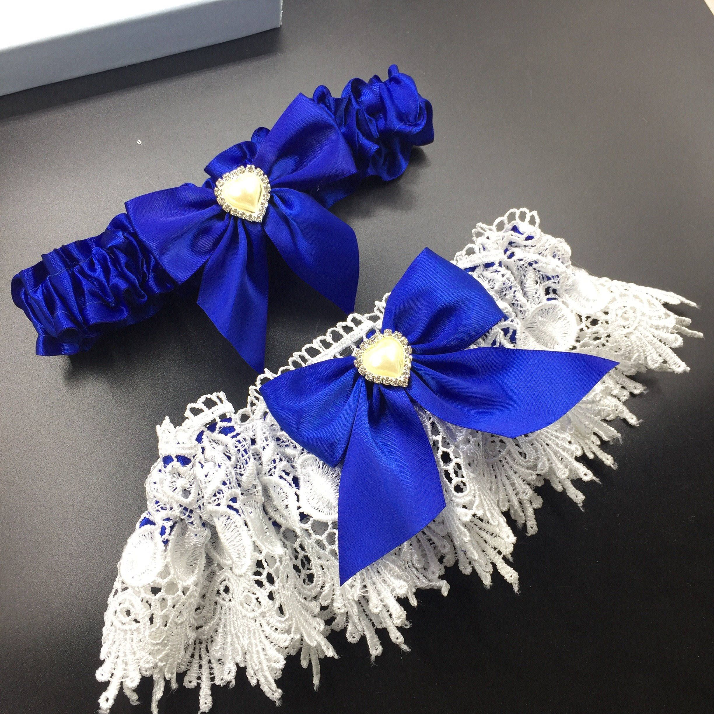 Luxury Royal Blue Garter Set With Heart Detail