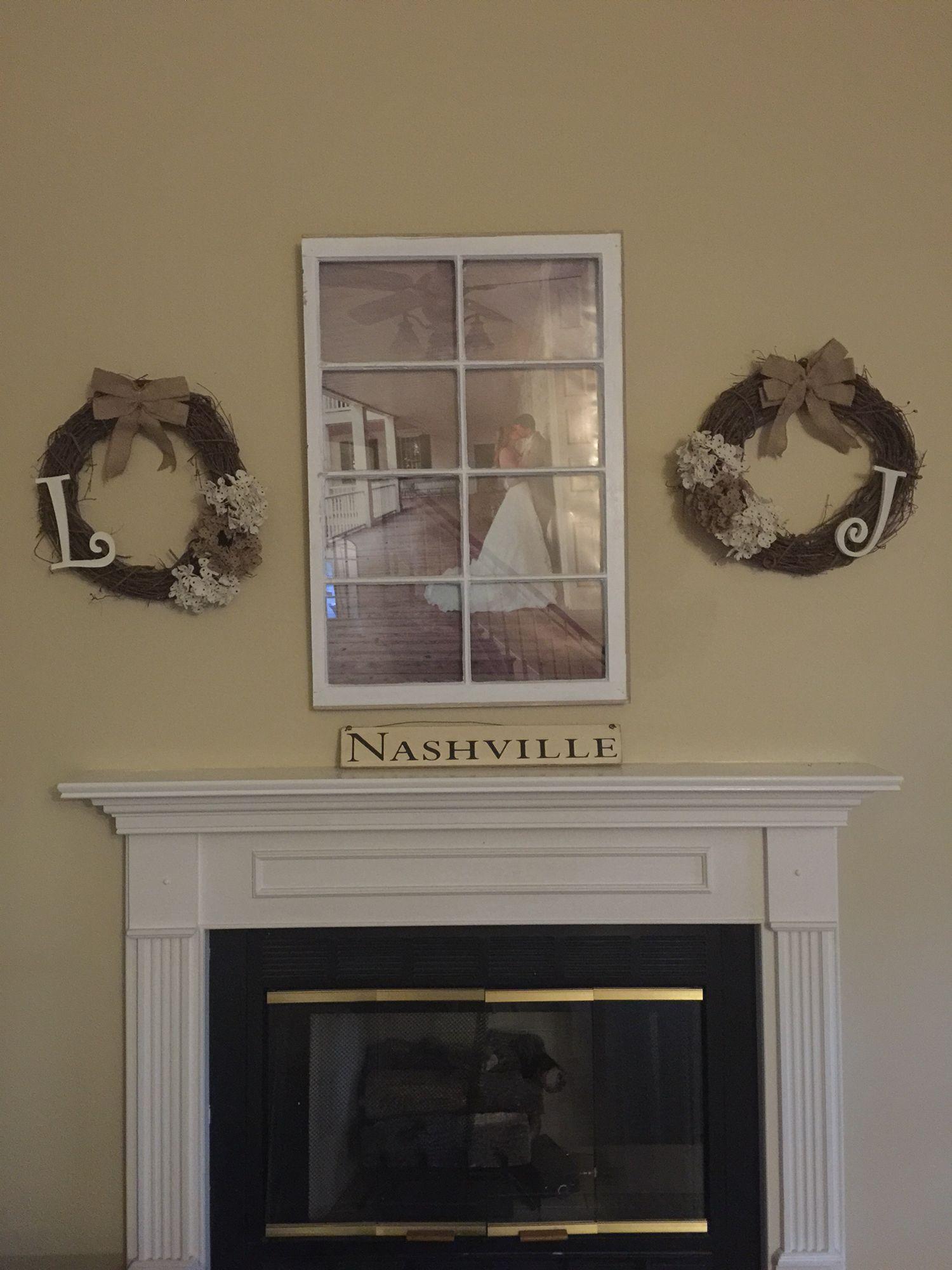 Window pane decor diy fireplace decor monogram twig wreaths and antique window pane