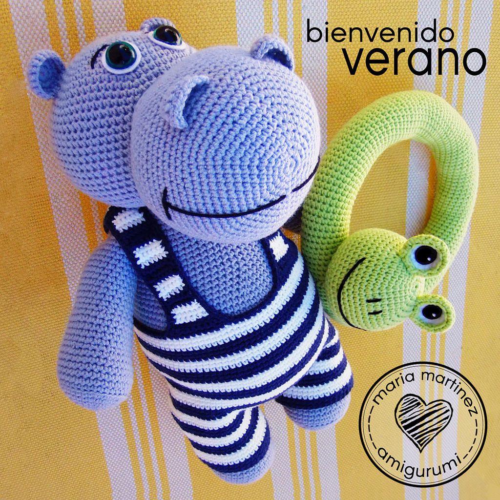 Maria Martinez Amigurumi: Hipopotamo Verano   Hipopótamo, Ranas y Libros