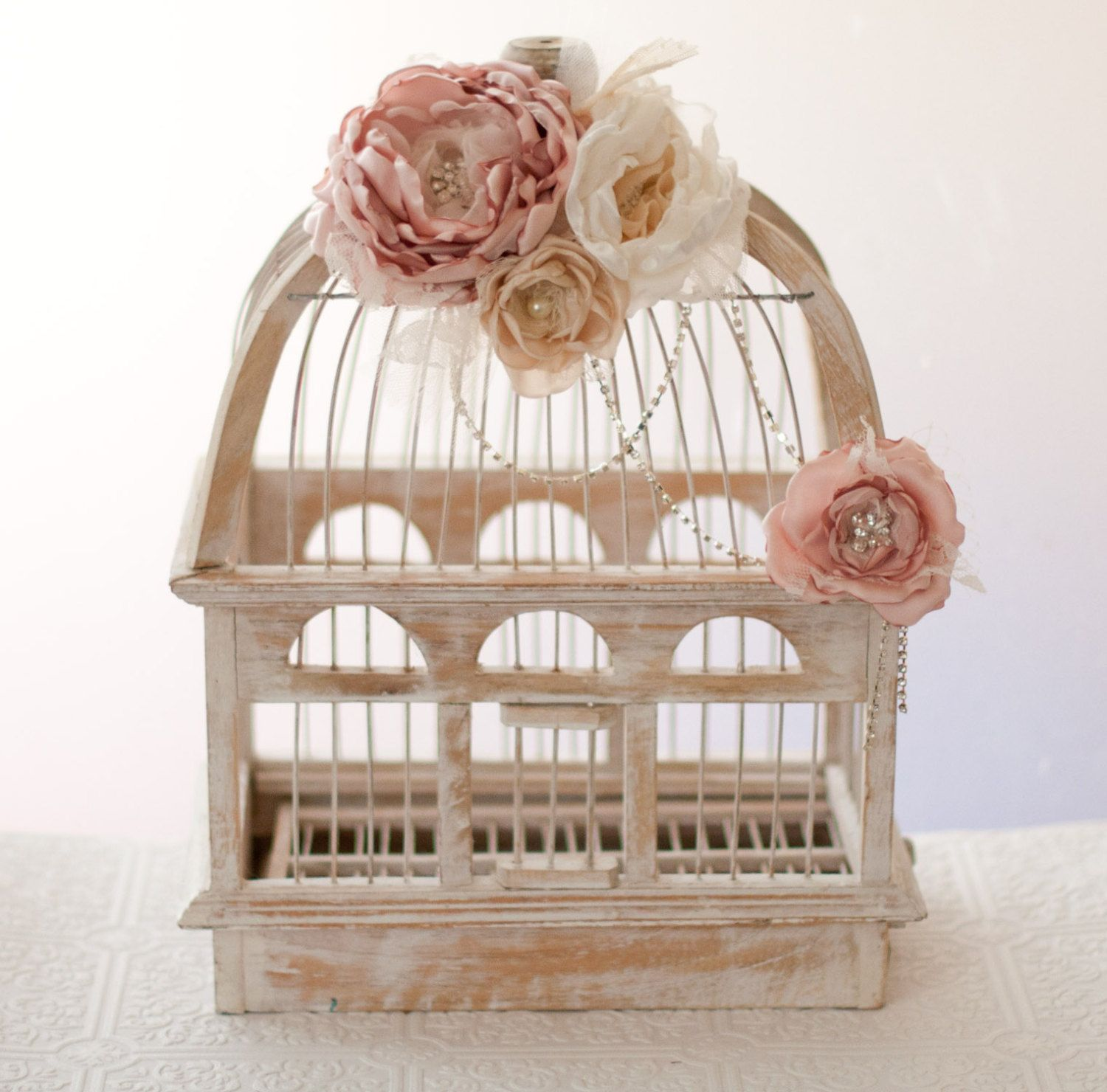 Wedding birdcage card holder rustic wood cage blush pink flowers