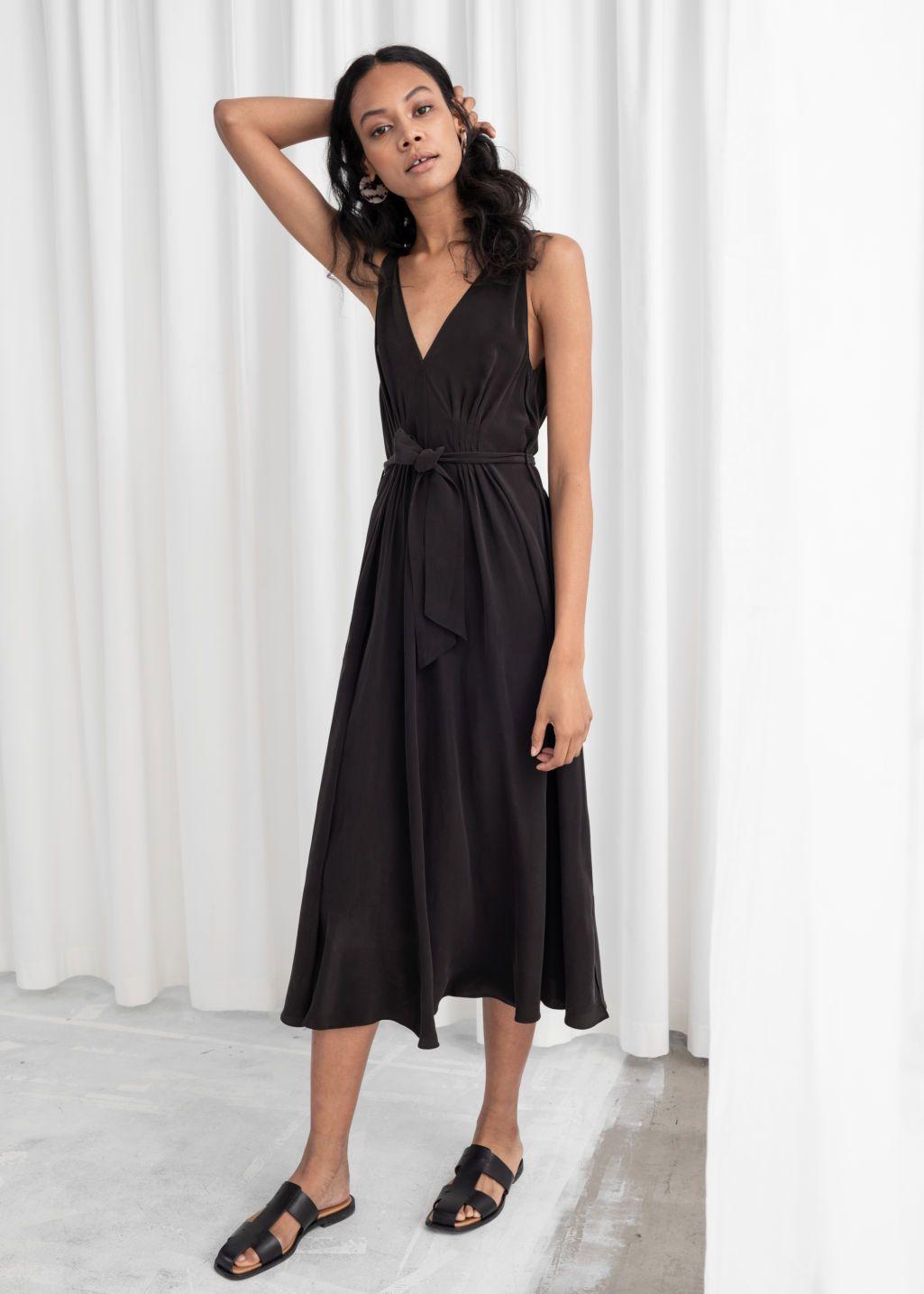 Belted Silk Midi Dress Silk Midi Dress Dresses Silk Prom Dress [ 1435 x 1025 Pixel ]