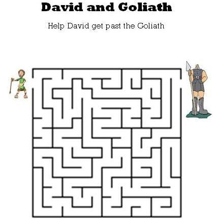 Pin On Kids Bible Mazes David and goliath worksheets kindergarten