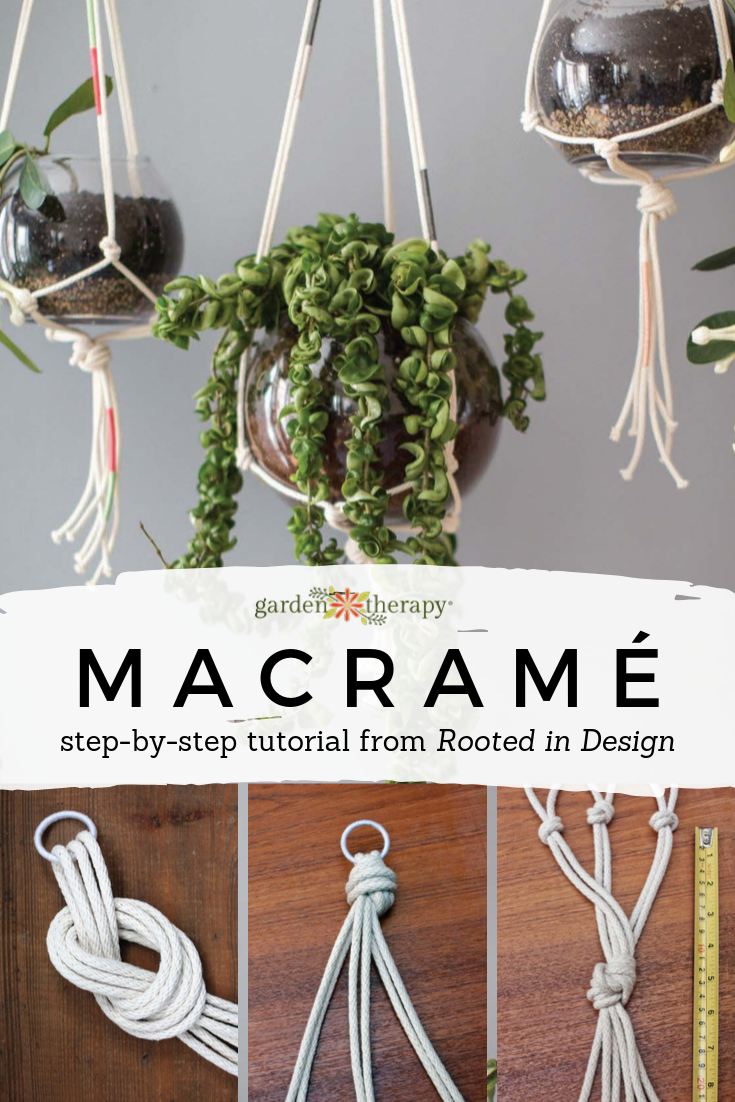 How to Make Modern Macrame Plant Hangers is part of Diy plant hanger, Diy macrame plant hanger easy, Plant hanger, Macrame plant hangers, Macrame plant, Macrame plant hanger tutorial - Learn how to make modern macrame plant hangers from the authors of Rooted in Design and Owners of Sprout Home  Perfect for indoor or outdoor plant designs