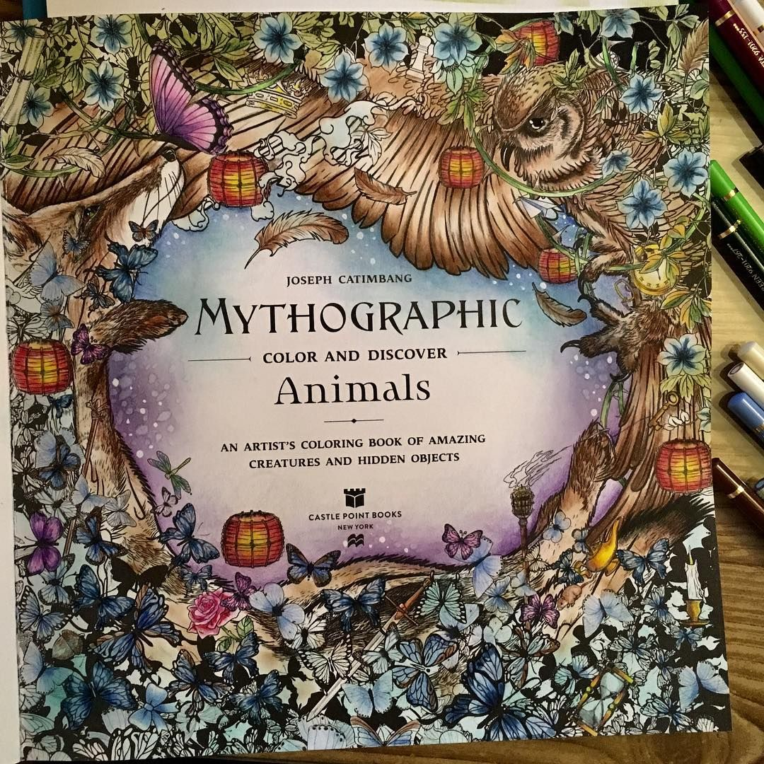 Title Page For Mythographic I Colored This Page With Polychromos Prismacolors Distress Inks And A Pasca Coloring Books Animal Coloring Books Coloring Pages