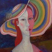 Tableau contemporain personnage  sur toile : Upside Art, La Dame Au Chapeau Multicolore par Suzi Philippe ( Peinture huile )