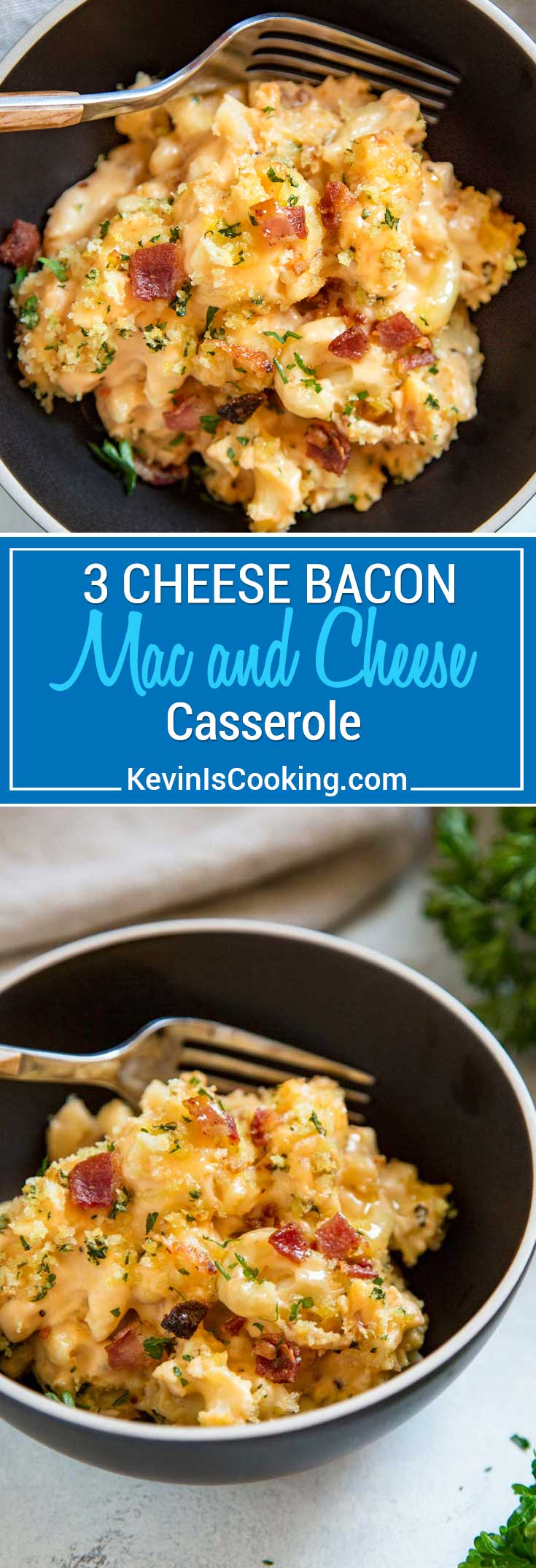 Bacon Mac and Cheese Casserole #bakedmacandcheeserecipe