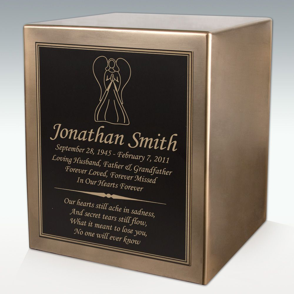 Angel Seamless Bronze Cube Resin Cremation Urn is also available in silver as well!