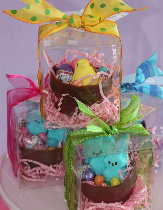 Make homemade chocolate bowls and fill with candy eggs and other make homemade chocolate bowls and fill with candy eggs and other treats package with easter grass and ribbon deliver to friends or family negle Choice Image