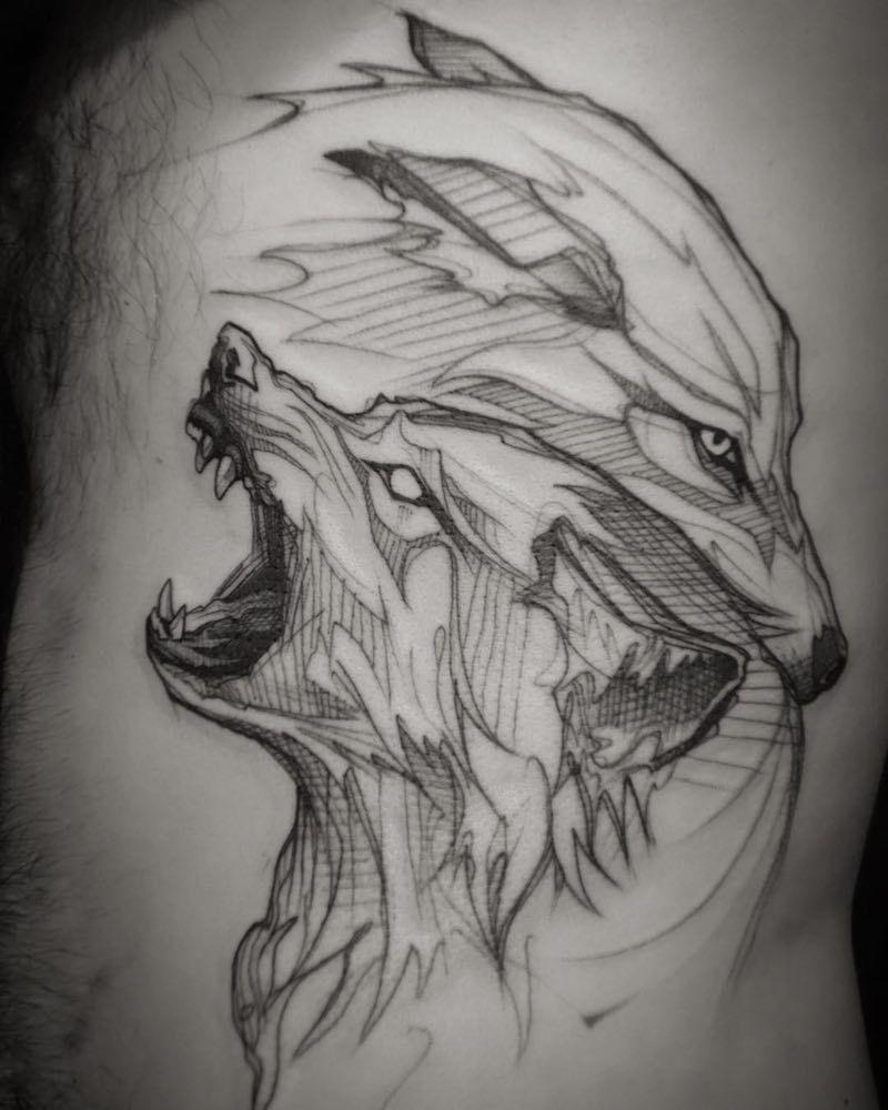 wolf tattoo by l 39 oiseau wolftattooideas tattoo pinterest tattoo wolf tattoos and tatoo. Black Bedroom Furniture Sets. Home Design Ideas