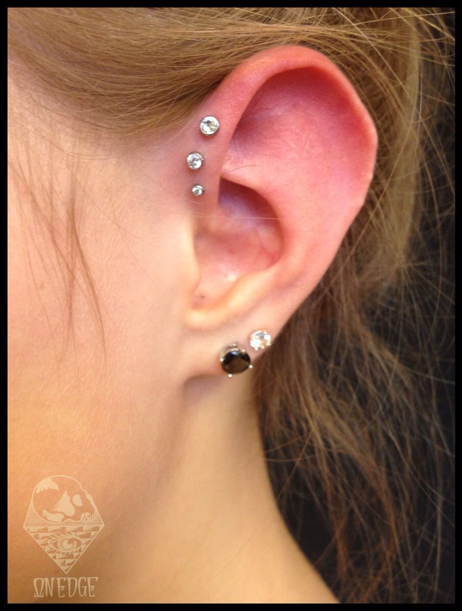 Fresh Triple Forward Helix With Industrial Strength Jewelry