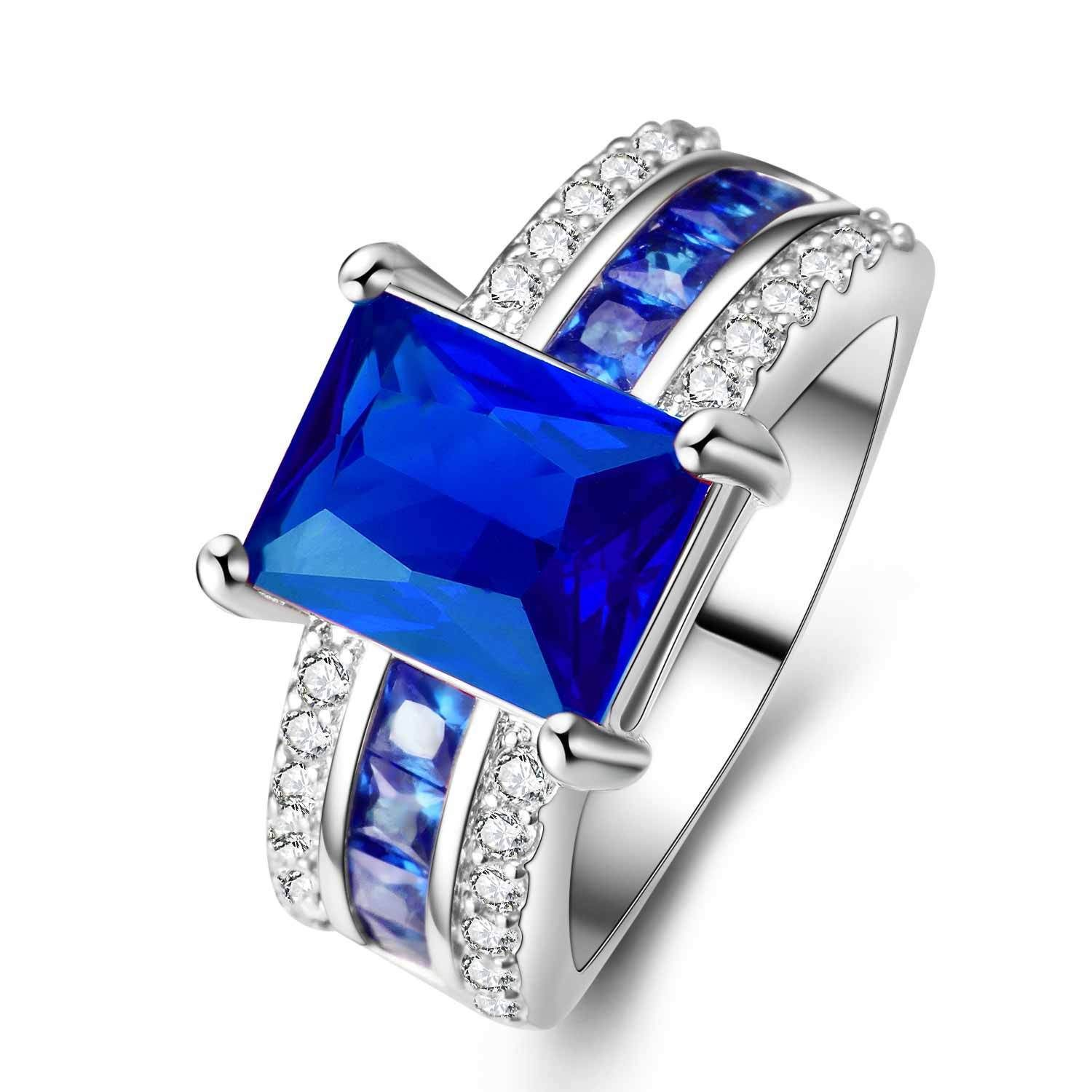 925 Silver Glod Filled Sapphire Size 6 7 8 9 10 Bridal